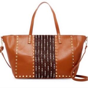 Cognac Studded Tote Large